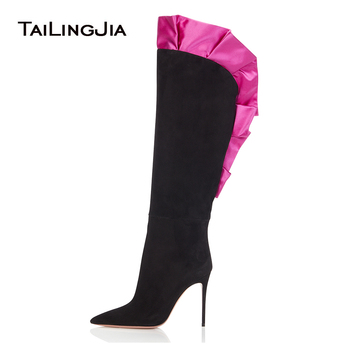 Women Pointed Toe Slip on High Heel Over The Knee High Boots Black Stylish Thin Heels Long Boots Ladies Pointy Winter Shoes 2018