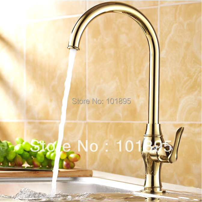 L15968 Luxury Deck Mounted Gold Color Brass Material Of Single Lever Kitchen tap