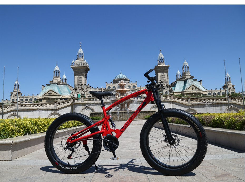 HTB1y9ILXET1gK0jSZFrq6ANCXXaN Love Freedom 7/21/24/27 Speed Mountain Bike 26 * 4.0 Fat Tire Bikes Shock Absorbers Bicycle Free Delivery Snow Bike