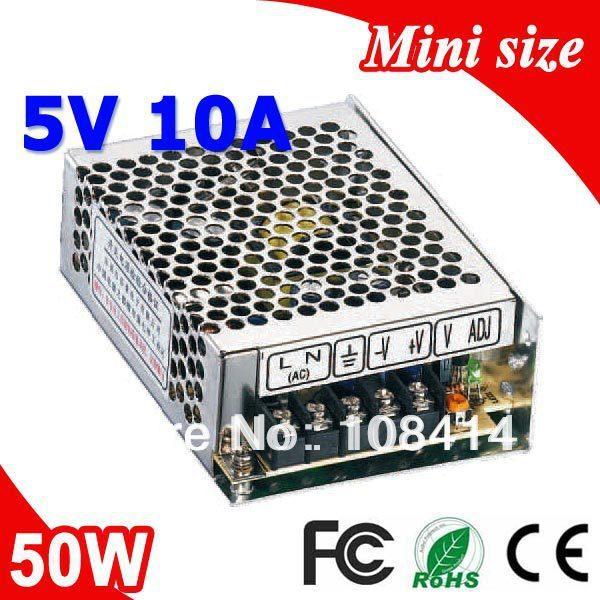 MS-50-5 50 W 5 V 10A Mini taille transformateur de commutateur de courant LED 110 V 220 V AC à DC 5 V sortie