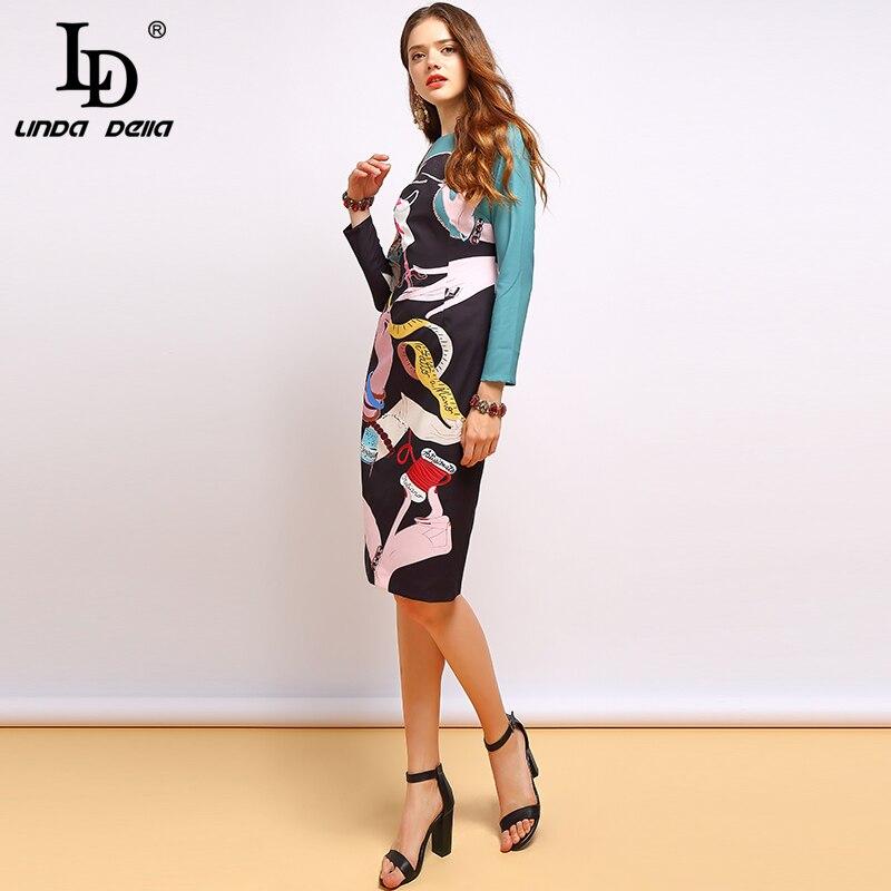 Image 3 - LD LINDA DELLA Autumn Fashion Runway Long Sleeve Dress Women's Cartoon Print Beading Midi Pencil Slim Elegant Dress-in Dresses from Women's Clothing