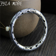 Fyla Mode Lose Money! Wholesale 999 Silver Bangle Bracelet Antique Thai Silver Fish & Lotus Flower Hollow Bangle 7.80mm