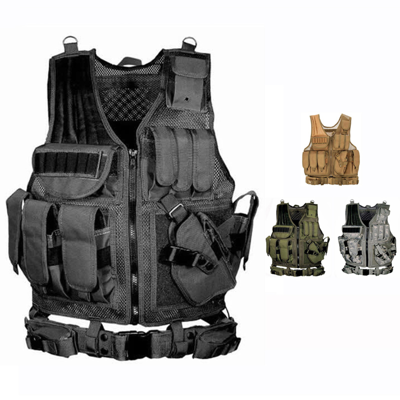 2019 Army Tactical Equipment Military Molle Vest Hunting Armor Vest Airsoft Gear Paintball Combat Protective Vest For CS Wargame-in Hunting Vests from Sports & Entertainment