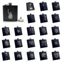 Alalinong B110 черная фляга 6 унций из нержавеющей стали Персонализированная Лазерная фляжка с гравировкой спирт Ликер Виски Ром с одной воронкой