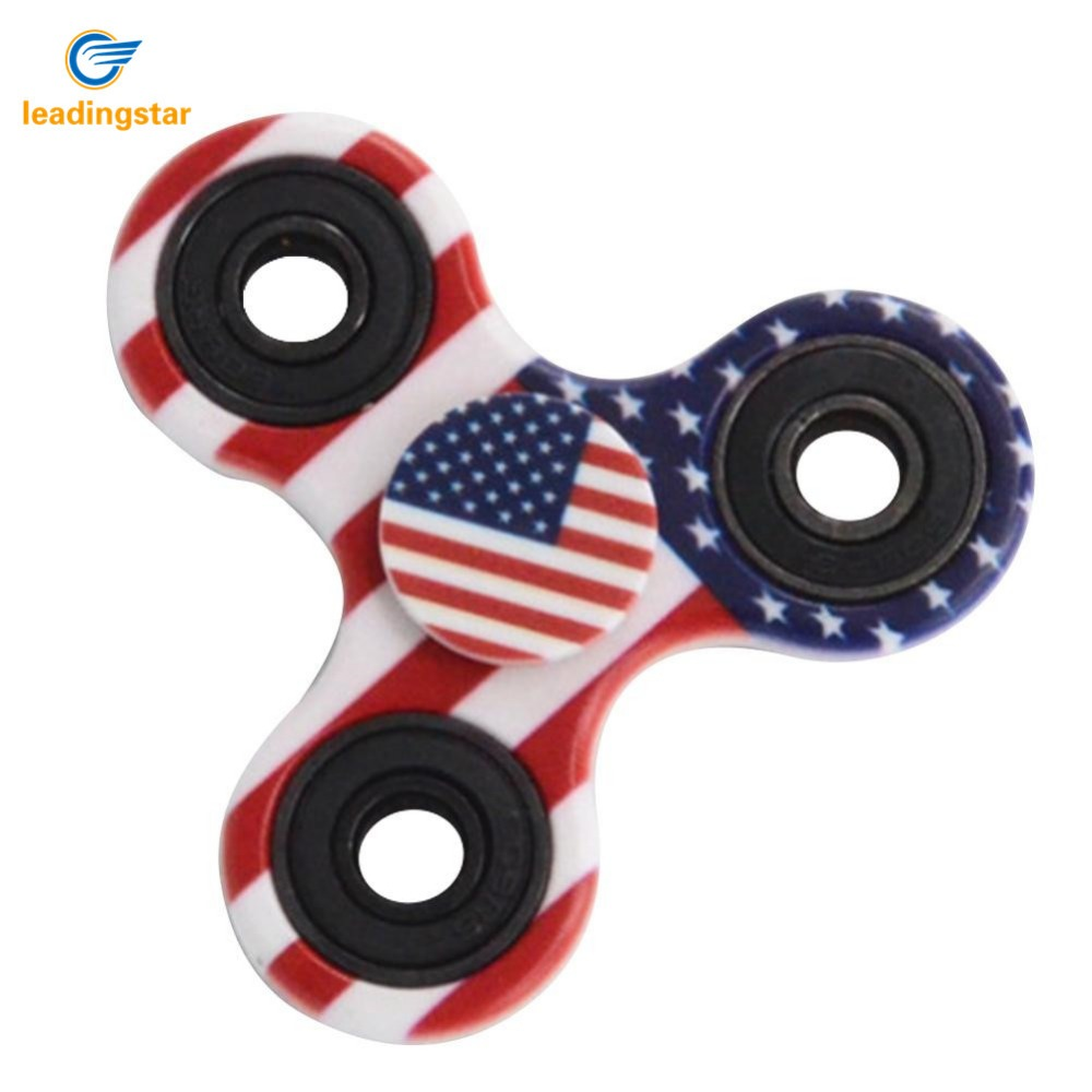 LeadingStar 20Pcs Fidget Spinner Stars Stripes Printing Tri Spinning Finger Toys for Autism and ADHD Relief Focus Anxiety Stress luminous tri fidget hand spinner light in dark edc tri spinner finger toys relieve anxiety autism adhd for child