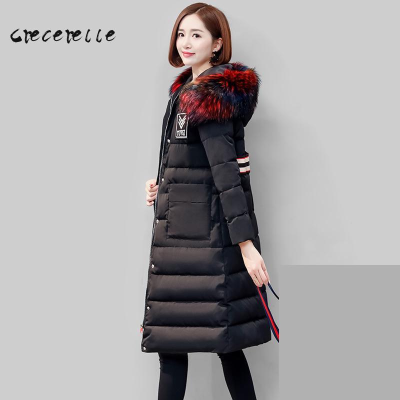 Thick Warm Cotton Coat Large Size Women Winter 2018 Long Thin Coat L-5XL Extra Plus Size Vestidos Mujer Plus Size Feminino D516h