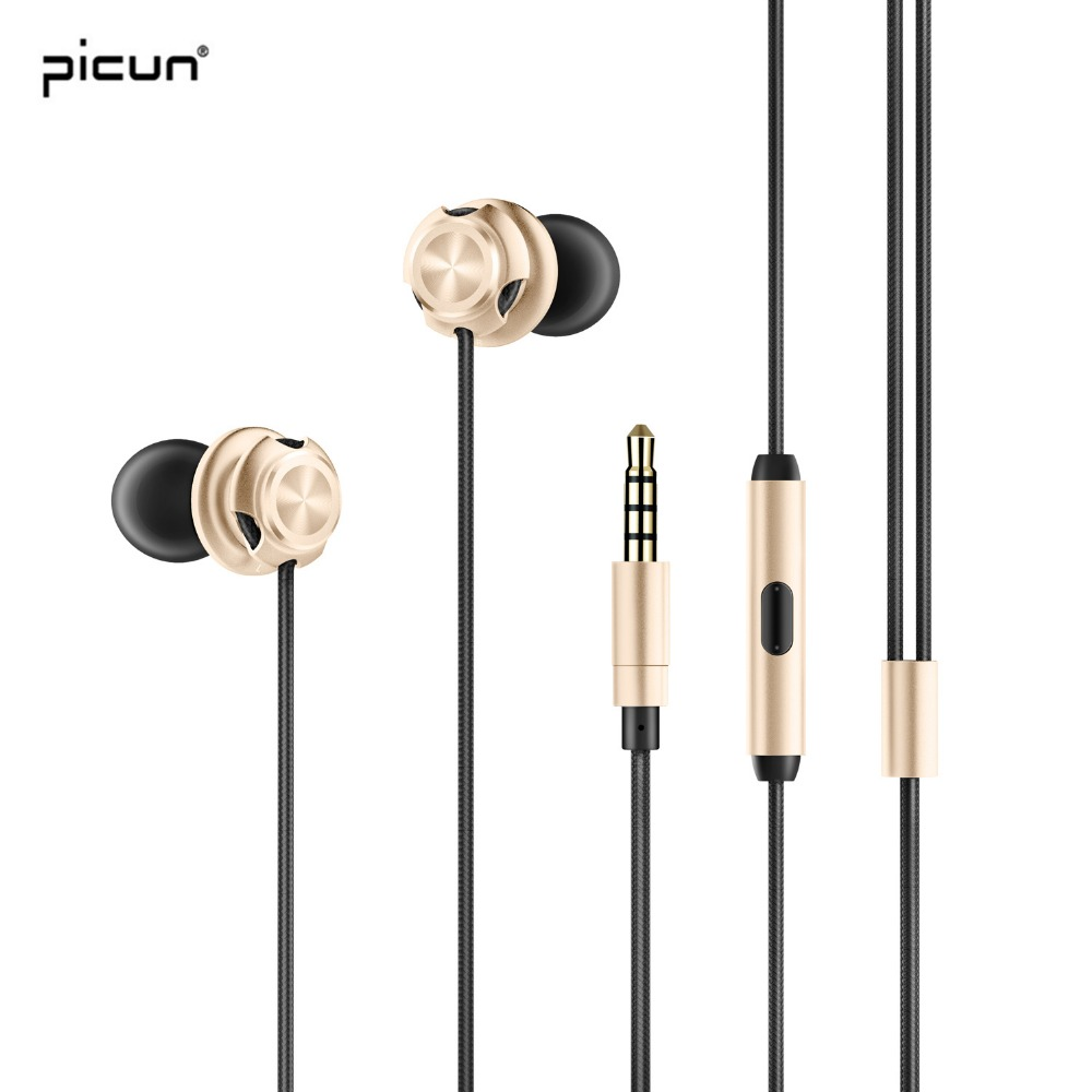 Picun In-ear Earphones Metal Phone Headset Wired Earphone Sport Earbuds Stereo Bass Earpiece With Microphone For iPhone Android glaupsus gj01 in ear 3 5mm super bass microphone earphones earplug stereo metal hifi in ear earbuds for iphone mobile phone