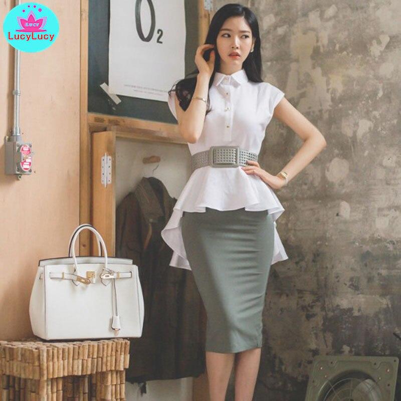 2019 Summer New Ol Professional Temperament Ruffled Sleeveless Shirt Waist Pocket Hip Skirt 2 Piece Women's Suit Sashes