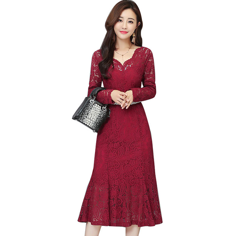 Fall spring Burgundy Dresses For Woman Slimming Lace Retro Long - Women's Clothing