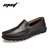 Brand 38 47 Pure Genuine Leather Handcrafted Men Loafers Men Flats Casual Driving Shoes Soft Breathable