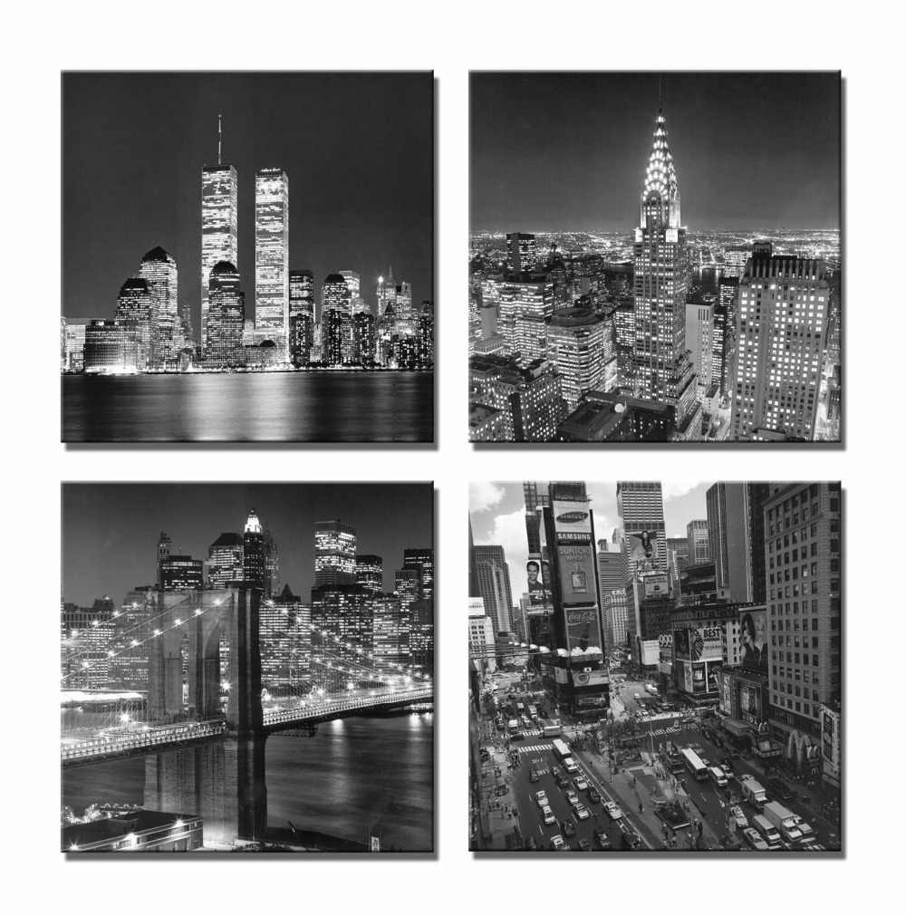 Canvas Wall Art Picture HD Print Poster 4 Piece Black White Brooklyn Bridge City Night Scene Painting Home Decor No Fram