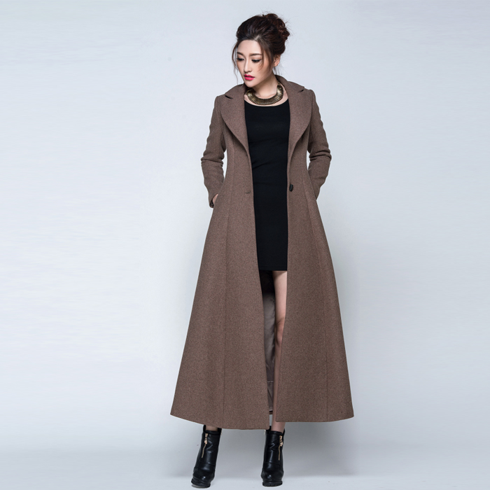 2017 Winter coat women Maroon Black Wool Coat Trench Long Coat ...