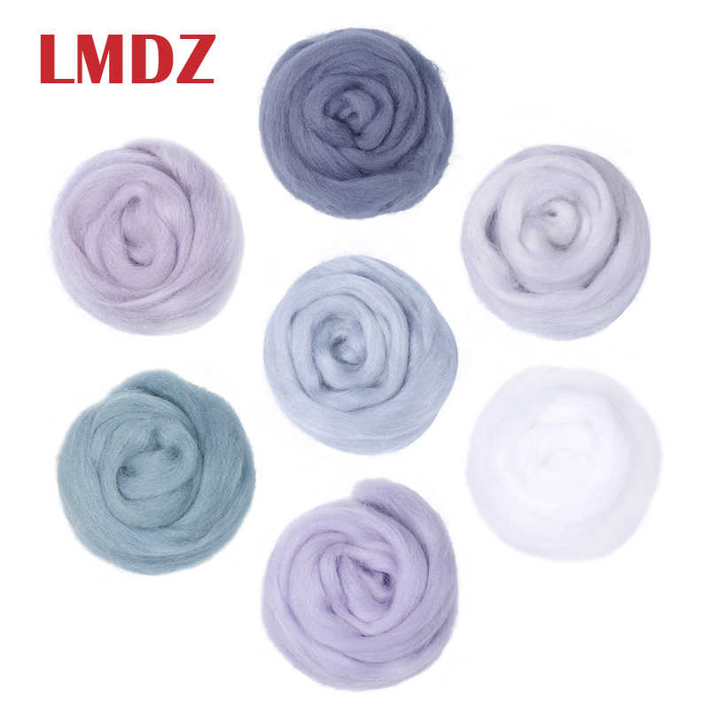 LMDZ 1PCS 50g Soft White Felting Wool Tops Roving Wool Fibre For Needle Felting DIY Doll Needlework Sewing Projects Felting Wool