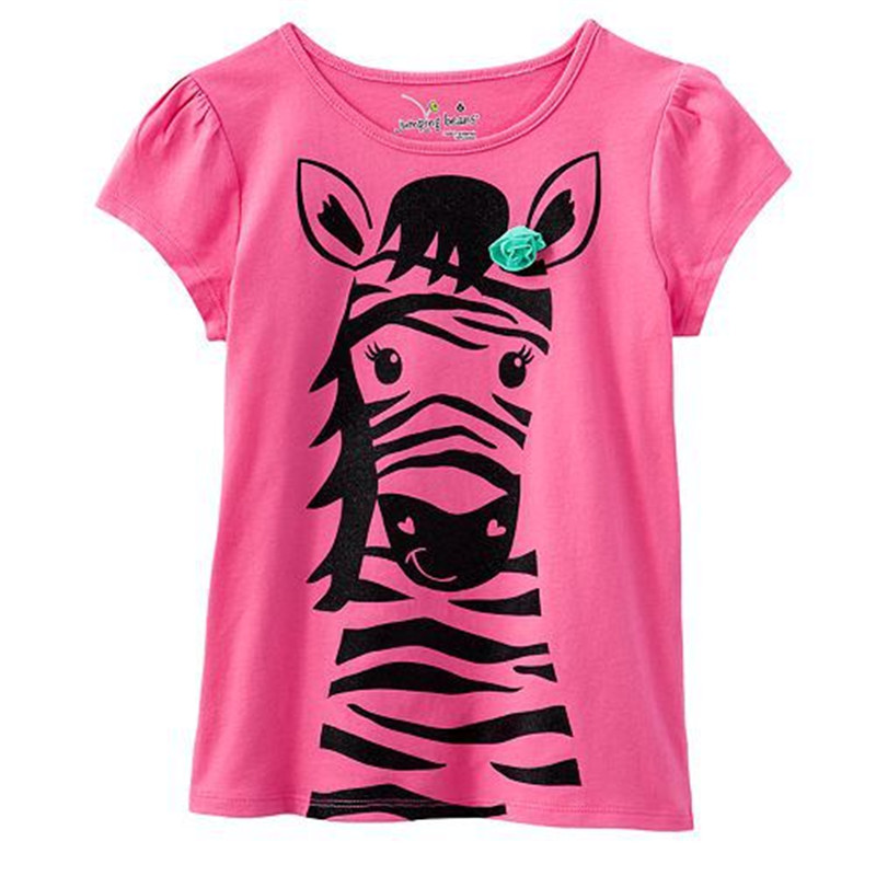 Baby girls casual short sleeve summer t shirt kids cute new style cartoon t shirt with printed a lovely rabbit top quality 2018 cute scoop neck short sleeve zebra printed t shirt for women