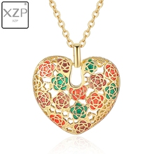 XZP Fashion Women Love Hollow Out Heart Enamel Rose Chain Pendant Jewelry Women Vintage Necklace Female Choker Trinket floral enamel hollow out pendant necklace