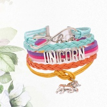 Wide Leather Unicorn Bracelet