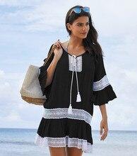 2019 Fashion Flare Sleeve Summer Beach Dress Women Tassel Crochet Bathing Suit Cover ups Pareo de plage Short Dress Beachwear 3 4 sleeve crochet flare dress