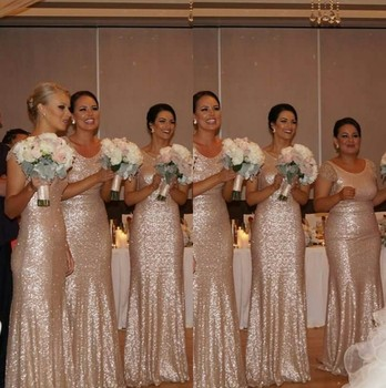 Shining Sexy Sequins Bridesmaid Gown Navy Blue/Peach/Ivory/Champagne/Silver/Yellow/Hunter Mermaid Sequined Bridesmaid Dresses