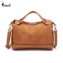 FUNMARDI Brand Women Handbags Vintage Scrub Leather Crossbody Bags Female Rivet Design Shoulder Bags Women Tote Bags WLHB1836(China)