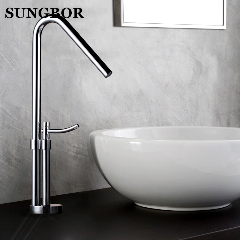 Tall Square Brass Chrome Bathroom Faucet Lavatory Sink Bar Basin faucet Mixer Tap Extra Long Spout Cold Hot Water tap LT-801A tall brass bathroom faucet pull out 1 5 hose hand spayer bath lavatory vessel sink basin faucets mixer taps chrome 11 inch