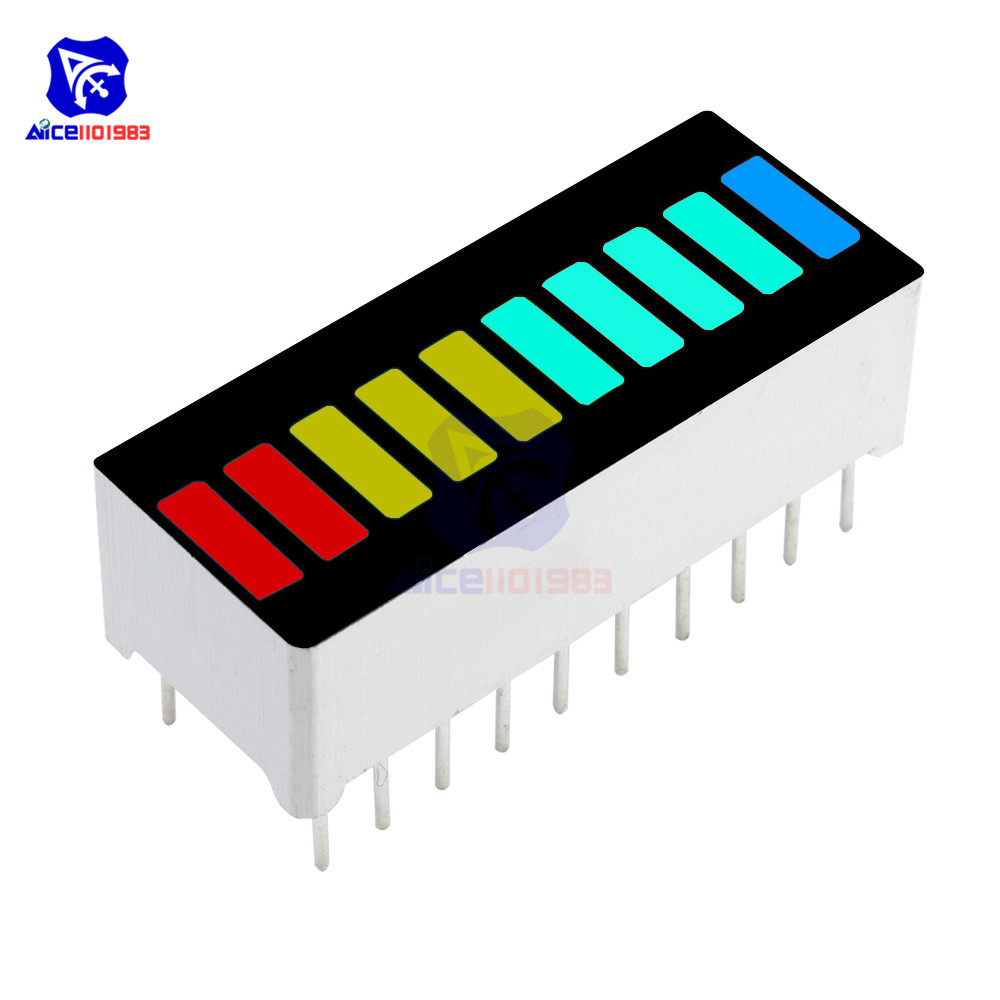 2PCS 10 Segment Full Color LED Bargraph Light Display Module Ultra Bright Red Yellow Green Blue 4 Color Available RYGB Dip DIY