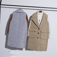2018 New Autumn Solid Women Down Cotton Vest Lady Midi Long Sleeveless Cotton Jacket Big Size Winter Female Coat Outerwear WZ442