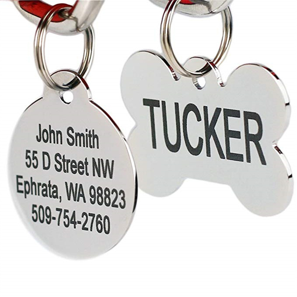 Custom Personalized Dog ID Tags Pet ID Tags for cats and dogs Collar Accessories Dog Tag Engraved Tel Sex Name Tag in Dog Accessories from Home Garden