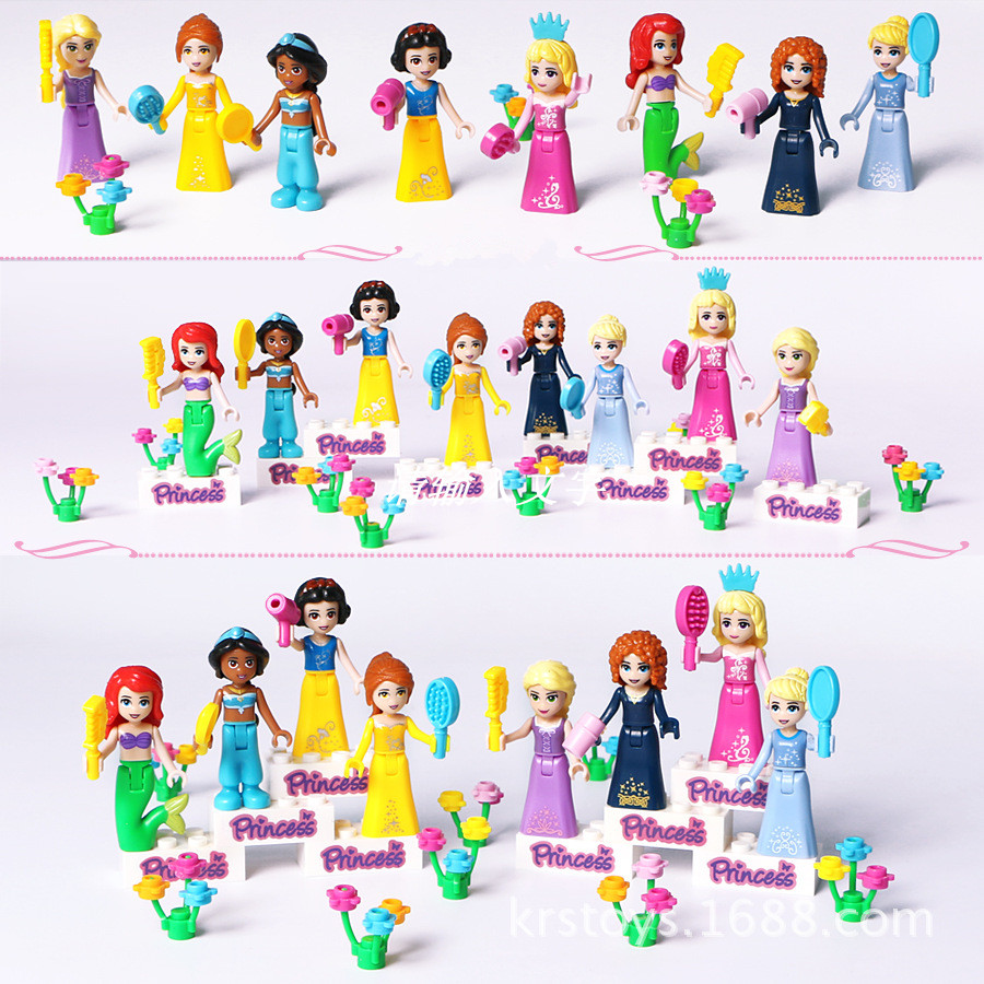 New 8pcs Fairy Tale Princess Girl Legoings Model Building Kits Doll Figures Bricks Blocks Toys Kids Children Christmas Gift