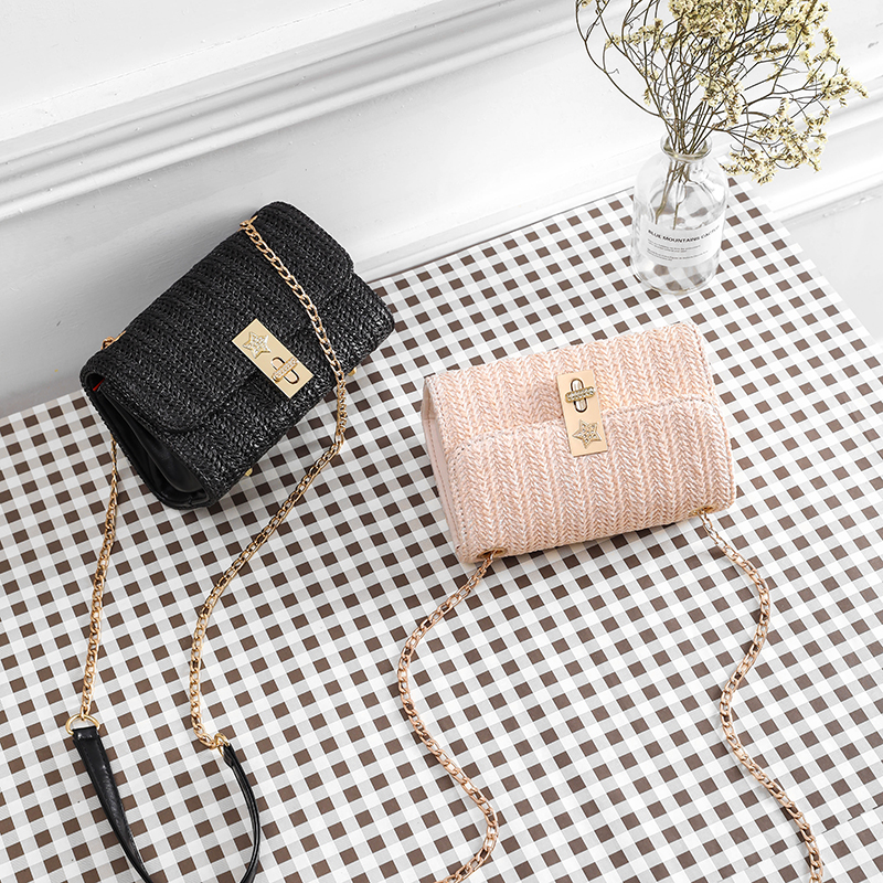 Straw pu Bag Handbags Women Summer Rattan Bag Handmade Woven Beach Handbag 2019 New Fashion esigner bags famous brand in Shoulder Bags from Luggage Bags