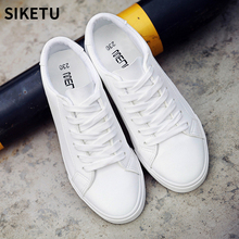 Women White Leather Canvas Shoes Lace-up Sneakers Female Fashion Walking Shoes tenis feminino Girl Leisure Flat Vulcanize Shoes недорого