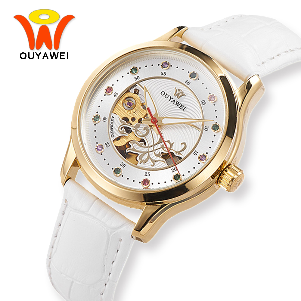 OUYAWEI White Skeleton Dial Leather Automatic Mechanical Watches Women Luxury Gold Wrist Watch For Fashion Ladies Girls Woman winner brand luxury gold steel case watch women brown leather band rhinestone dial skeleton automatic mechanical wrist watches