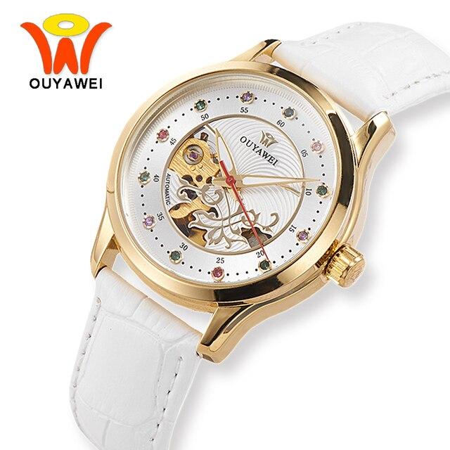 OUYAWEI Дамы Белый каркас Деловые часы Для женщин Роскошные бело-золотые кожа Автоматическая наручные часы для модных Обувь для девочек женские