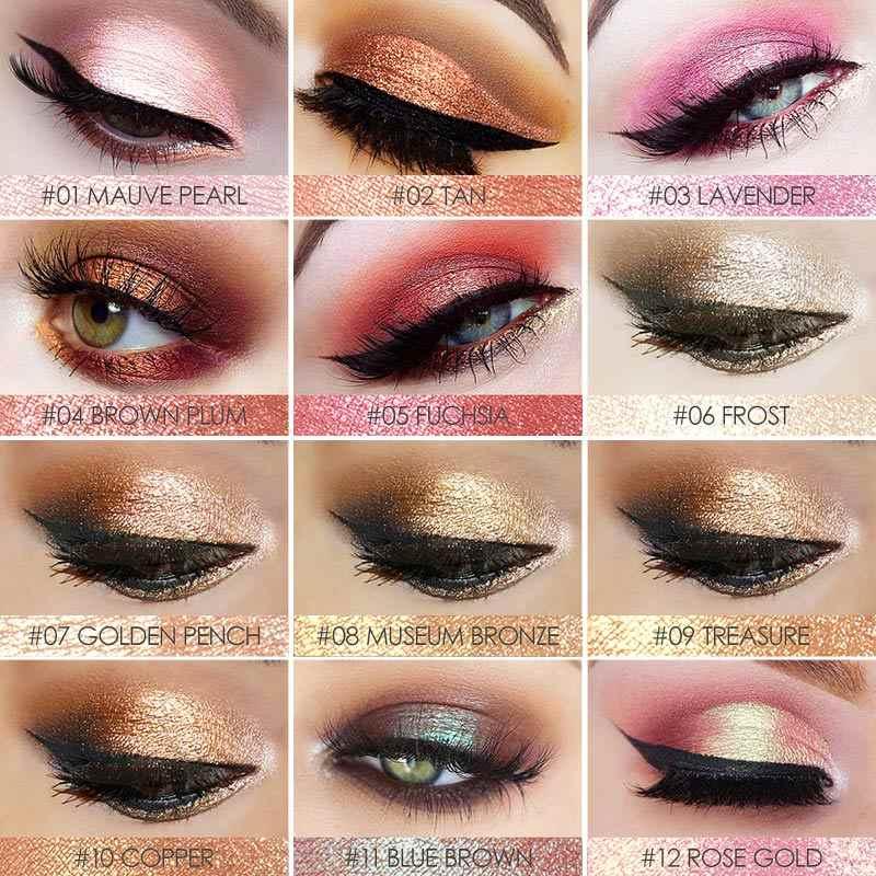 Focallure Glitter Eyeshadow Pigmen Bubuk Hijau Glitter Shimmer Matte Palet Bersinar Berlian 12 Warna Shadow Kosmetik