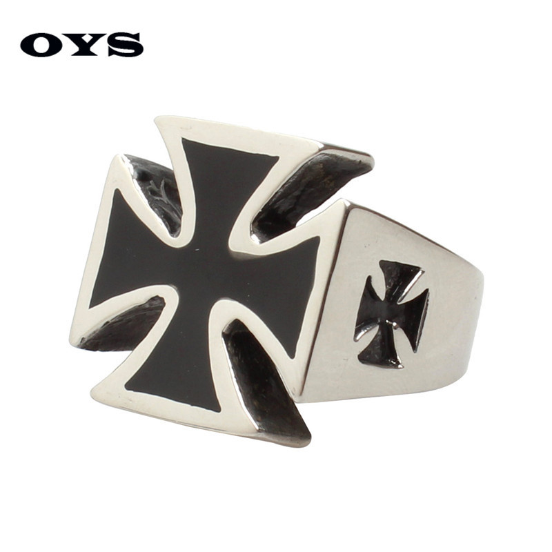 Fashion Cross Ring for Men Silver,Black Color Titanium Steel Rings Domineering Cool Male Design Jewelry Cross Rings