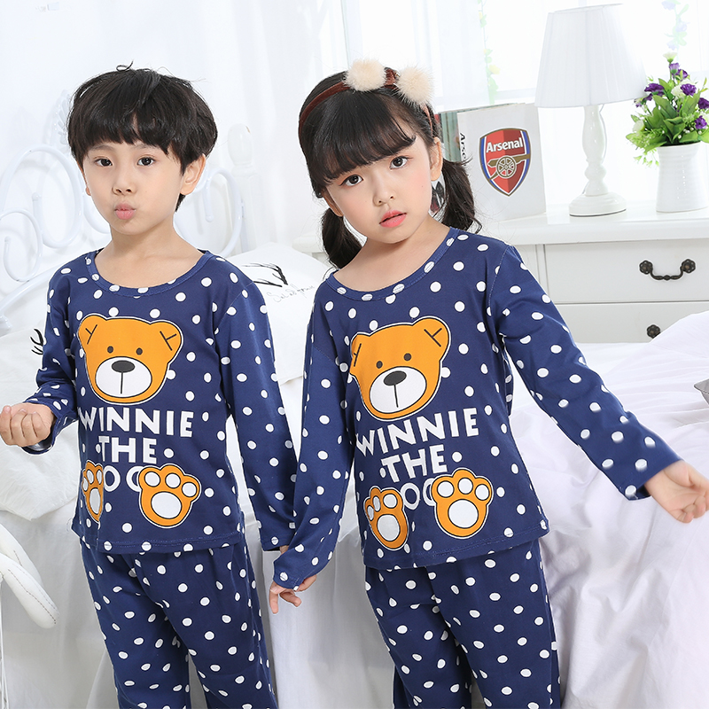 Pajamas     set   for children spring kid's home clothes boys cute cartoon long sleeved sleepwear 2018 new style girls clothing   set