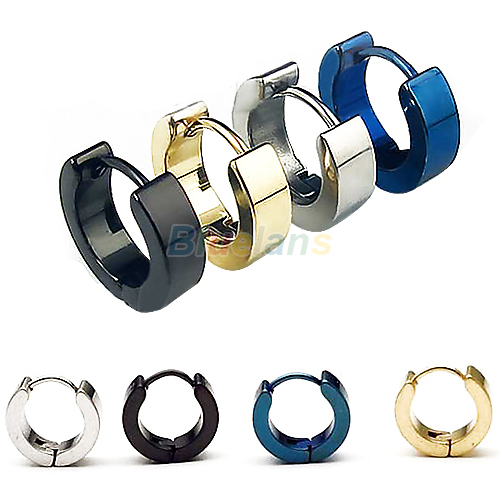 Bluelans 1 Pair Cool Mens Stainless Steel Round Earring Ear Stud 4 Colors Available 00OJ