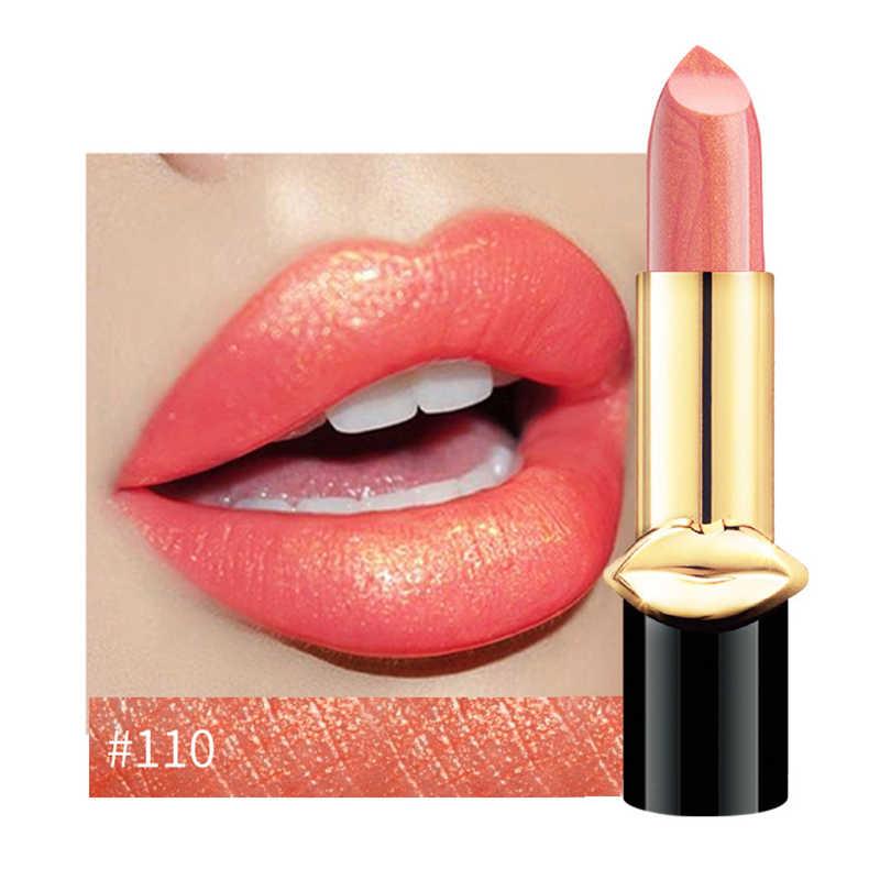 1 Pc Sexy Della Sirena metallico Brillare della Durata di rossetto Opaco Impermeabile Balsamo per le labbra Non-Appiccicoso Tazza di golden Glitter Labbra Nude trucco TSLM1