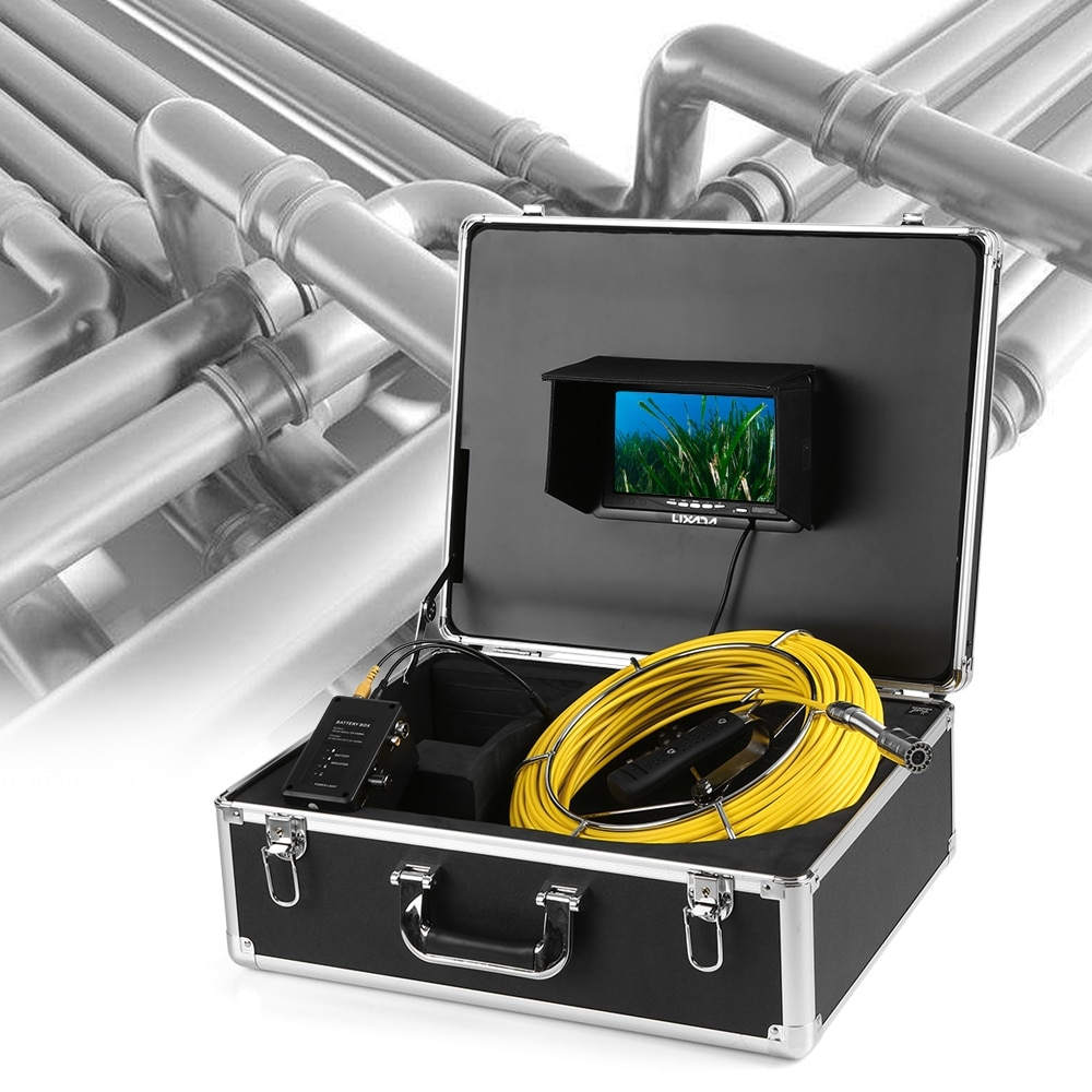 Lixada Camera IP68 Borescope Inspection System Snake Camera 7 LCD Monitor 12 LEDs Night Vision 50M Drain Pipe Sewer Inspection