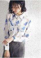 PIXY синие шелковые блузки с принтом белки женская рубашка с длинными рукавами Mori Girl Повседневные офисные женские топы летние шелковые тутов
