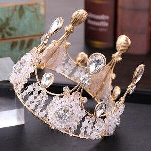 Креативные бриллианты ручной работы Корона Европейский изысканный день рождения Свадебный головной убор Роскошная Королева Кристалл дома...