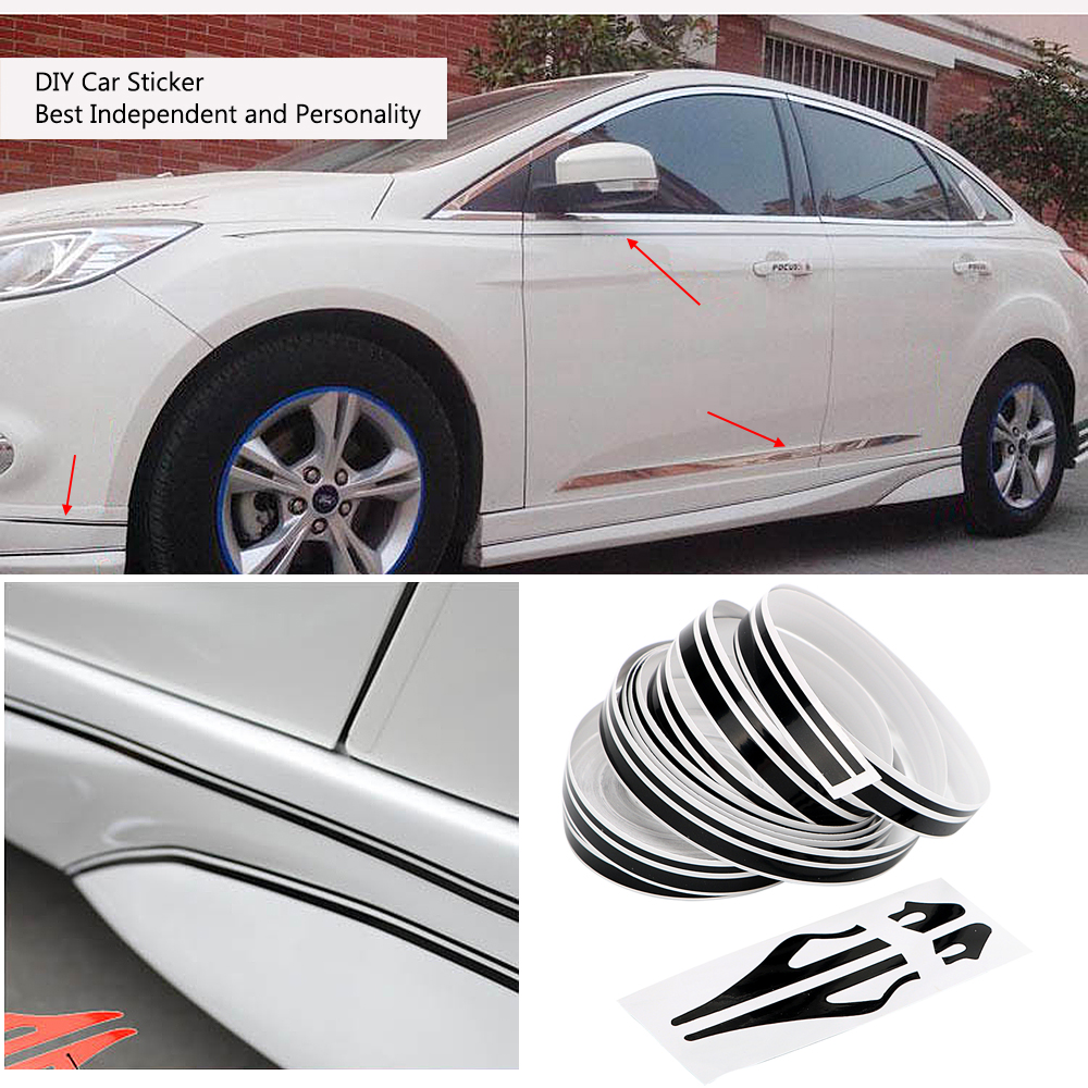 10*9800mm DIY Car Sticker Fashion Decoration Strip Motorcycle Stickers and Decals 3 Colors Auto Body Decor Car Styling