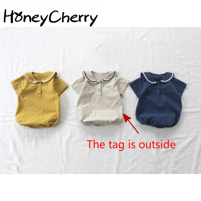 Female Baby Bodysuit College Windsuit Boys Summer Clothes Navy Ultra-thin Cool Turn-collar Climbing Clothes