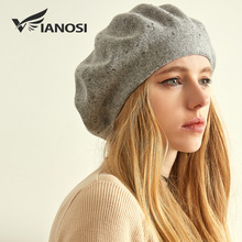 VIANOSI Winter Beret Hat Women wool knitted berets Rhinestone Caps Female Fashion Solid Color Thick Warm Gorros