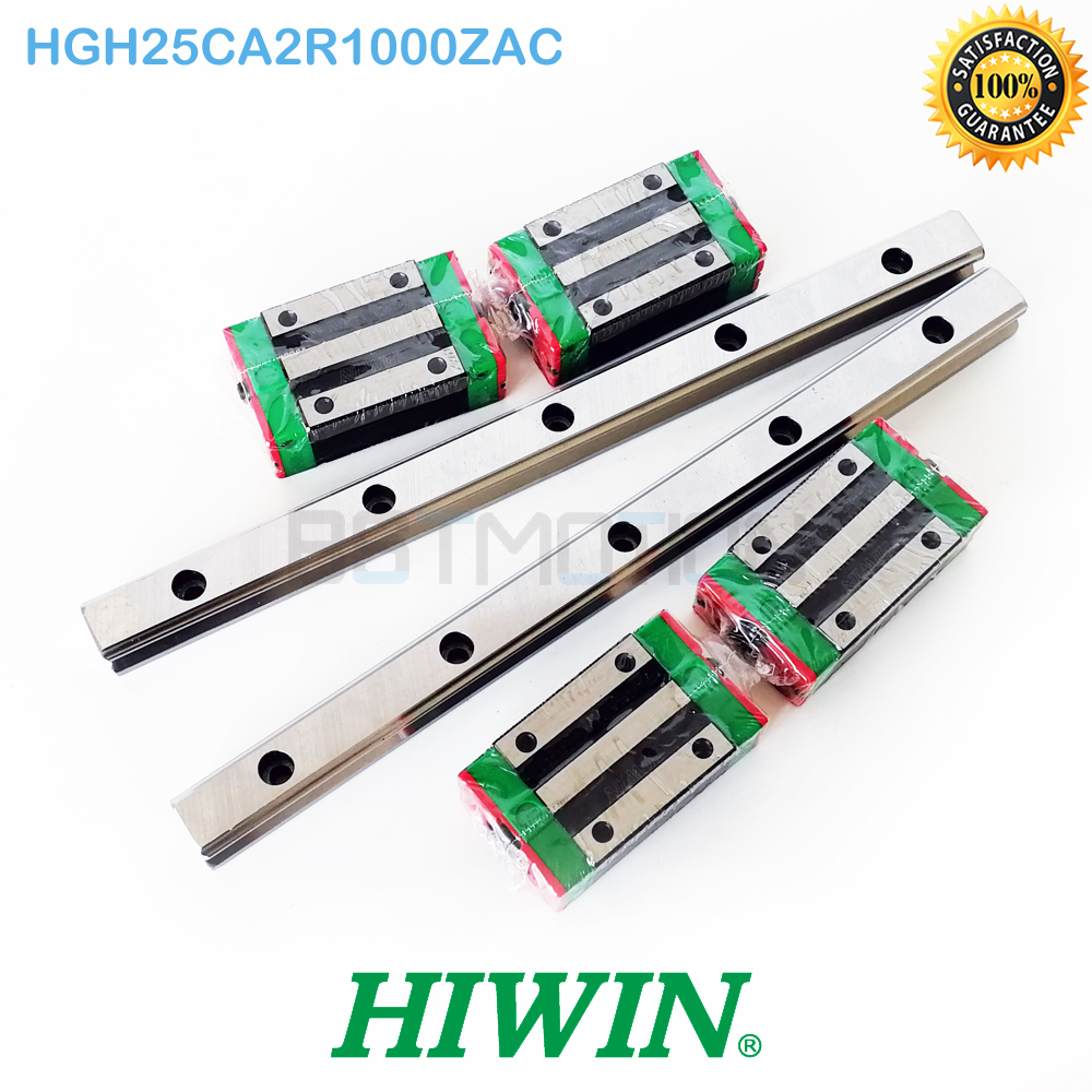 Genuine HIWIN 25mm HGR25 Linear Guide 2pcs 1000mm Rail 4pcs HGH25CA Block Carriage HGH25CA2R1000ZAC