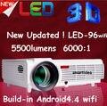 2016 5500 люмен Android 4.4 HD LED Wifi Умный Проектор СВЕТОДИОДНАЯ Лампа 3D домашний кинотеатр LCD Видео Proyector Projektor DTV проектор