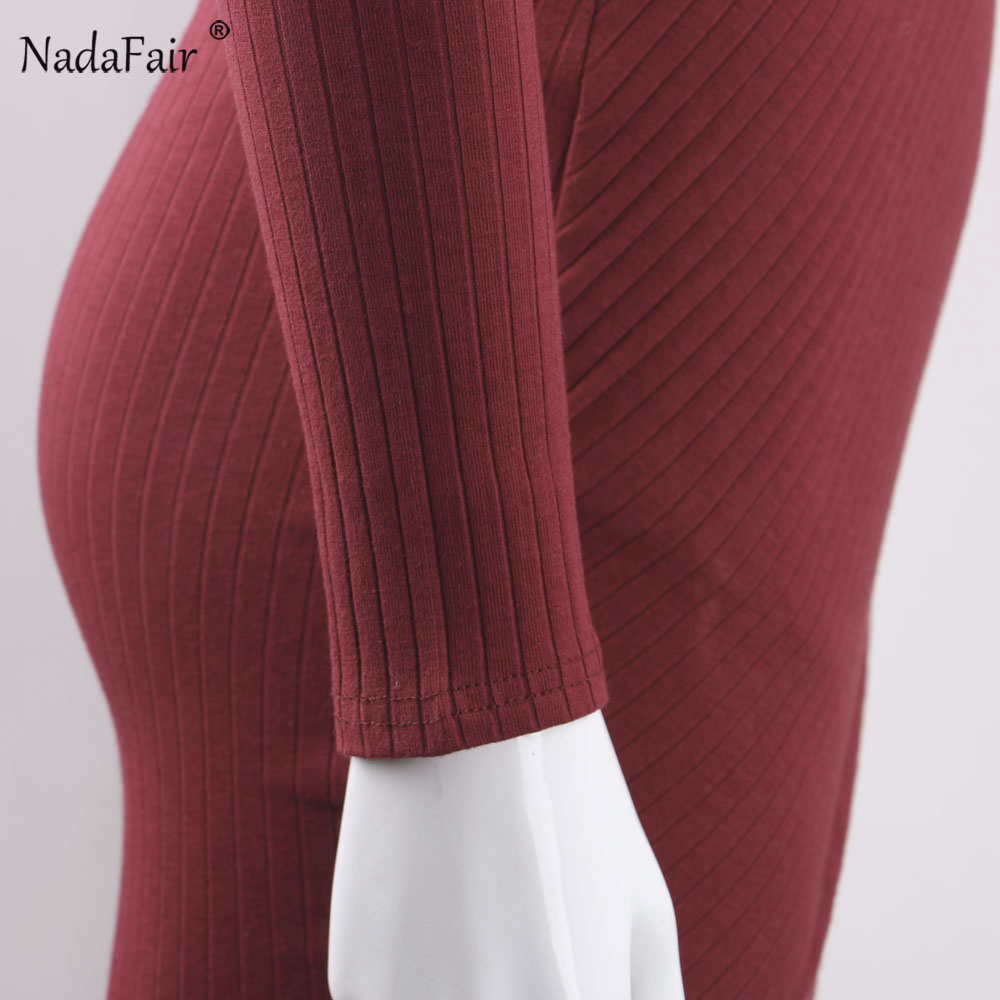 Nadafair V Neck Long Sleeve Criss Cross Cotton Knitted Autumn Women Dress Sexy Club Bodycon Bandage Party Dress Plus Size 5