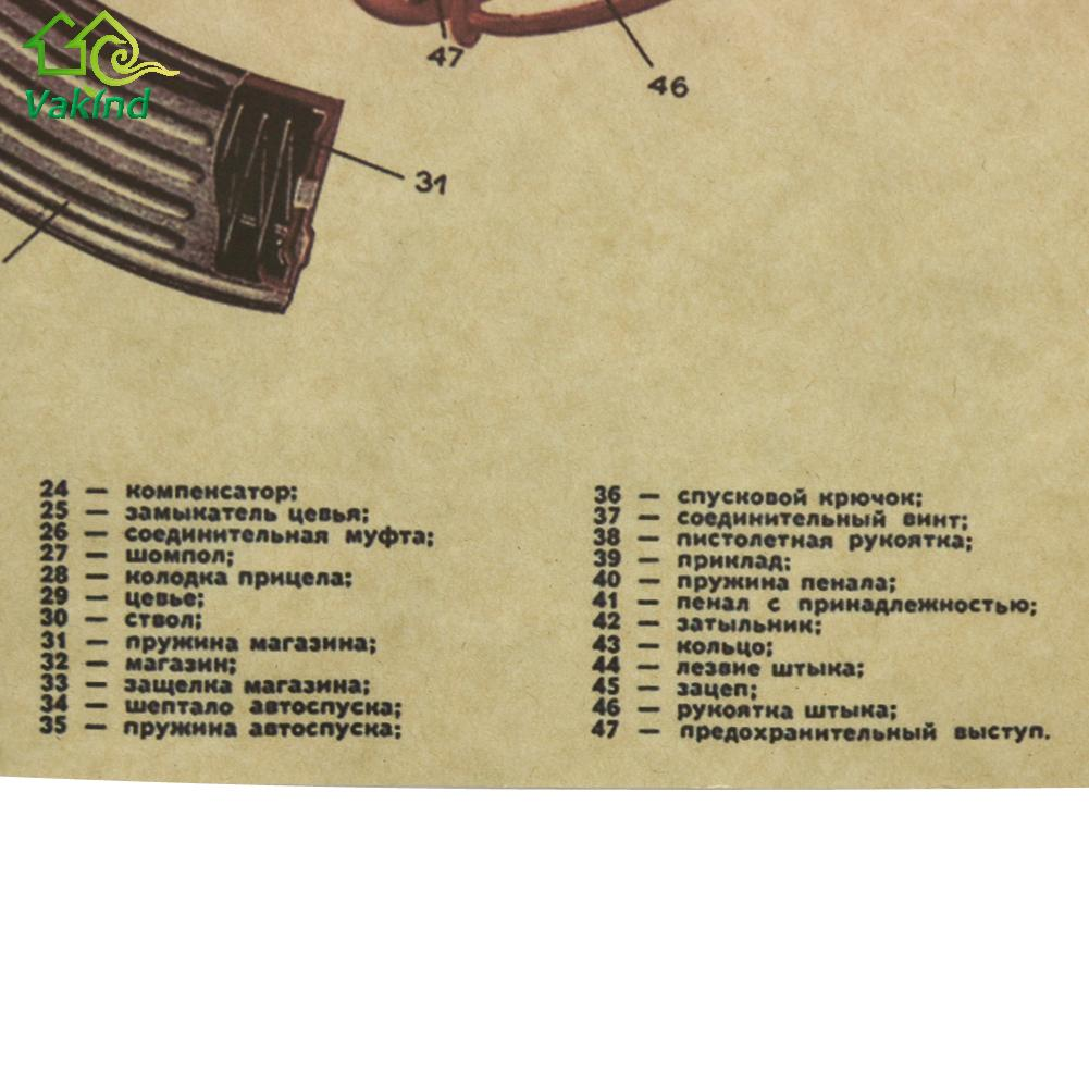 51x35cm Retro Wall Sticker DIY Vintage AK47 Improved Structure ...