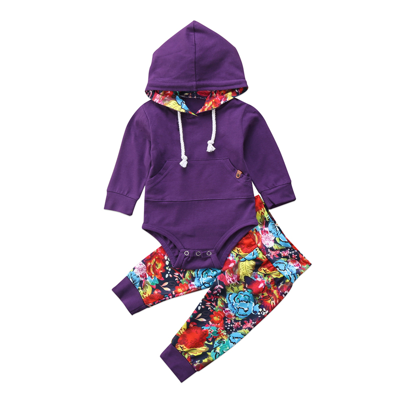 Infant Newborn Baby Girl Clothes Hooded Romper +Long Pants Leggings 2Pcs Outfit Set