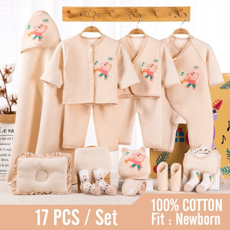 0~1 Years Newborn Baby Clothes Soft Cotton Toddler Baby Boy Girl Clothes Set Cartoon Infant Clothing New Born Gift Set 3 Colors