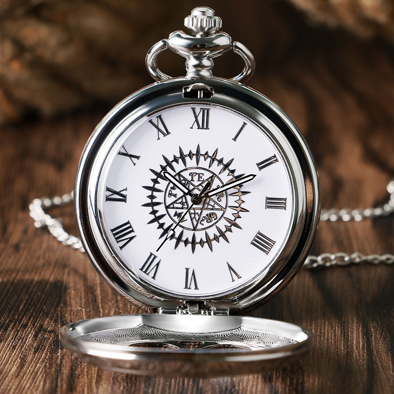 Hot Anime e Zezë Butler Kuroshitsuji Style Pocket Watch Sebastian Ciel Silver Hollow Flower Flower Women Burra Neckalce Chian Xmas Gifts